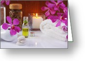 Essential Greeting Cards - Health Spa Concepts  Greeting Card by Atiketta Sangasaeng