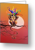 Digital Surreal Art Greeting Cards - Hear No Evil Greeting Card by Kd Neeley