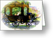 Wheels Greeting Cards - Hearse Greeting Card by Al Bourassa