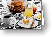 Juice Greeting Cards - Heart Breakfast Greeting Card by Gert Lavsen