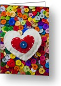 Button Greeting Cards - Heart buttons Greeting Card by Garry Gay