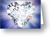 Shiny Jewelry Greeting Cards - Heart Diamond Greeting Card by Setsiri Silapasuwanchai