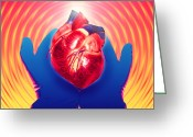 Donation Greeting Cards - Heart Donation Abstract: Gloved Hands Hold Heart Greeting Card by Mehau Kulyk