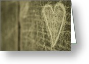 Heart-shape Greeting Cards - Heart Engraved On A Wall Greeting Card by Gil Guelfucci