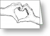 Sketch Drawings Greeting Cards - Heart Hands Greeting Card by Karl Addison