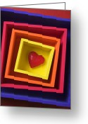 Heart-shape Greeting Cards - Heart In Boxes  Greeting Card by Garry Gay
