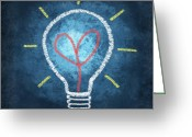 Lesson Greeting Cards - Heart In Light Bulb Greeting Card by Setsiri Silapasuwanchai