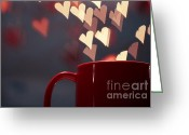 Drawing Pyrography Greeting Cards - Heart in my Cup of Coffee Greeting Card by Soultana Koleska