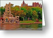 St Lawrence River Mixed Media Greeting Cards - Heart Island -Boldt Castle Greeting Card by Steve Ohlsen
