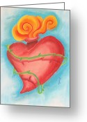 Tattoo Pastels Greeting Cards - Heart Greeting Card by Jennifer Perry