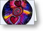 Mandalas Pastels Greeting Cards - Heart Mandala Greeting Card by Cassandra Donnelly