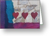 Gift For A Mixed Media Greeting Cards - Heart Music Mixed Media Collage Greeting Card by Karen Pappert
