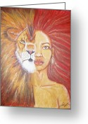 Merged Greeting Cards - Heart of a Lion Greeting Card by Sabrina Solomon