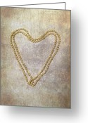 Pearl Necklace Greeting Cards - Heart Of Pearls Greeting Card by Joana Kruse