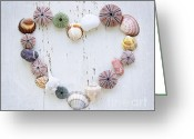 Shaped Greeting Cards - Heart of seashells and rocks Greeting Card by Elena Elisseeva