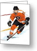 Hockey Winter Classic Greeting Cards - Heart of the Flyers - Claude Giroux Greeting Card by David E Wilkinson