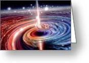 Galaxy Greeting Cards - Heart of the Quasar Greeting Card by Don Dixon