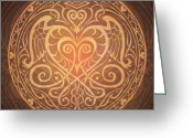 Owl Greeting Cards - Heart of Wisdom Mandala Greeting Card by Cristina McAllister