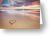 Horizon Over Water Greeting Cards - Heart On The Beach Greeting Card by Elusive Photography