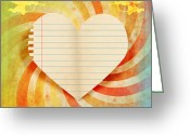 Antique Artwork Greeting Cards - Heart Paper Retro Design Greeting Card by Setsiri Silapasuwanchai