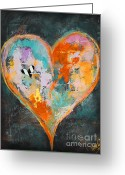 Anahi Decanio Mixed Media Greeting Cards - Heart Series - 1 Greeting Card by Anahi DeCanio