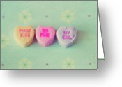 Heart-shape Greeting Cards - Heart Shape Candies Greeting Card by Images by Debbie Wibowo