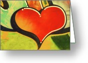 Heart-shape Greeting Cards - Heart Shape Graffiti, Close-up Greeting Card by John Foxx