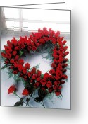 Wreaths Greeting Cards - Heart shape made of roses Greeting Card by Garry Gay