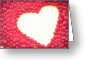Heart-shape Greeting Cards - Heart Shape Outlined By Red Cinnamon Candy Greeting Card by Kim Fearheiley Photography