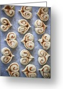 Cinnamon Greeting Cards - Heart Shaped Cinnamon Buns Greeting Card by Helena Schaeder Sderberg