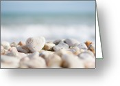 Heart-shape Greeting Cards - Heart Shaped Pebble On The Beach Greeting Card by Alexandre Fundone