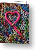Pencil Greeting Cards - Heart Shaped Pink Pencil Greeting Card by Garry Gay