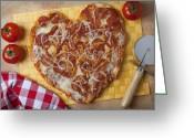 Shaped Greeting Cards - Heart Shaped Pizza Greeting Card by Garry Gay