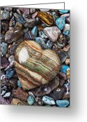 Stone Greeting Cards - Heart Stone Greeting Card by Garry Gay