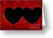 Black Love Greeting Cards - Heart To Heart Greeting Card by Marsha Heiken