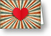 Old Paper Greeting Cards - Heart With Ray Background Greeting Card by Setsiri Silapasuwanchai