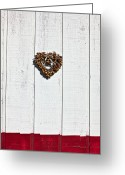 Shaped Greeting Cards - Heart wreath on wood wall Greeting Card by Garry Gay