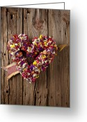 Weather Vane Greeting Cards - Heart wreath with weather vane arrow Greeting Card by Garry Gay
