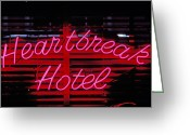 Road Trip Greeting Cards - Heartbreak hotel neon Greeting Card by Garry Gay