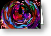 Whirls Greeting Cards - Hearted Greeting Card by Jan Steadman-Jackson