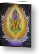 Buddha Art Greeting Cards - Hearts Fire Buddha Greeting Card by Sue Halstenberg