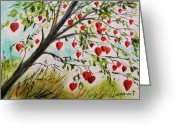 Grow On Trees Greeting Cards - Hearts Grow on Trees Greeting Card by John  Williams