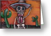 Skull Painting Greeting Cards - Heat Wave Greeting Card by  Abril Andrade Griffith