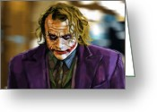 Batman Greeting Cards - Heath Ledger as The Joker Greeting Card by Eric Mark Thompson