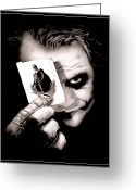 Dark Drawings Greeting Cards - Heath Ledger as The Joker Greeting Card by Kalie Hoodhood