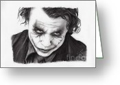 Batman Greeting Cards - Heath Ledger Greeting Card by Rosalinda Markle