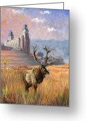 Horns Painting Greeting Cards - Heaven and Earth Greeting Card by Jeff Brimley
