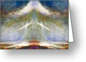 Poetic Greeting Cards - Heavenly Angel Abstract Greeting Card by Zeana Romanovna