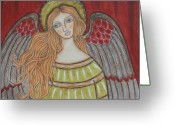 Religious Art Painting Greeting Cards - Heavenly Angel Greeting Card by Rain Ririn
