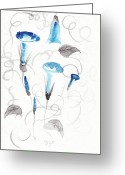 Inkwash Greeting Cards - Heavenly Blue Greeting Card by Oiyee  At Oystudio